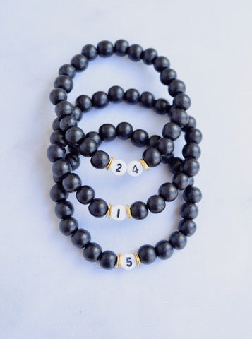 Customizable Black Wood Number Bracelet