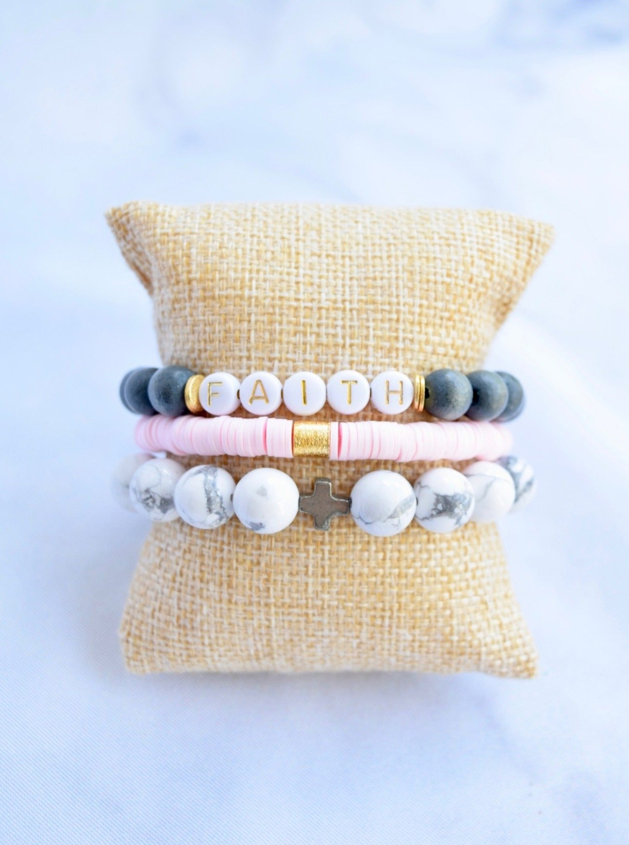 Faith Bracelet Stack - Pink