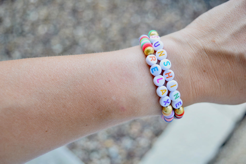 Customizable Rainbow Heishi Disc Word Bracelet