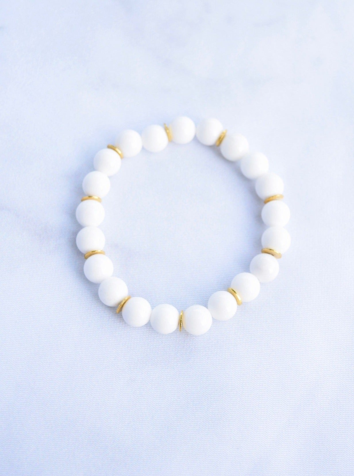 White and Gold Stacking Bracelet