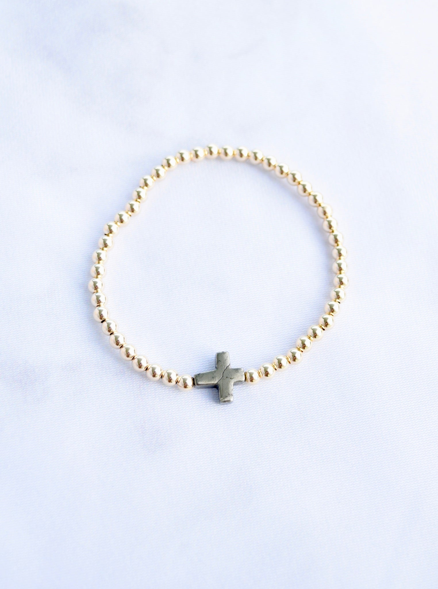 14kt Gold Beaded Cross Bracelet