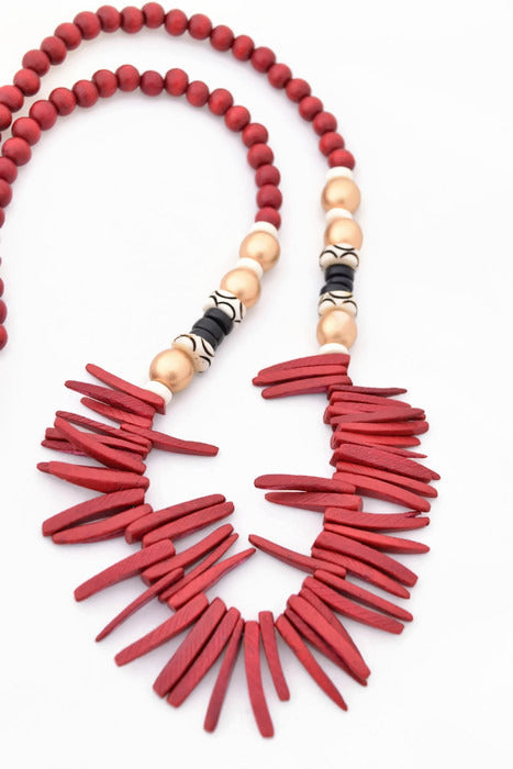 Elise Red, Black and Gold Boho Statement Necklace