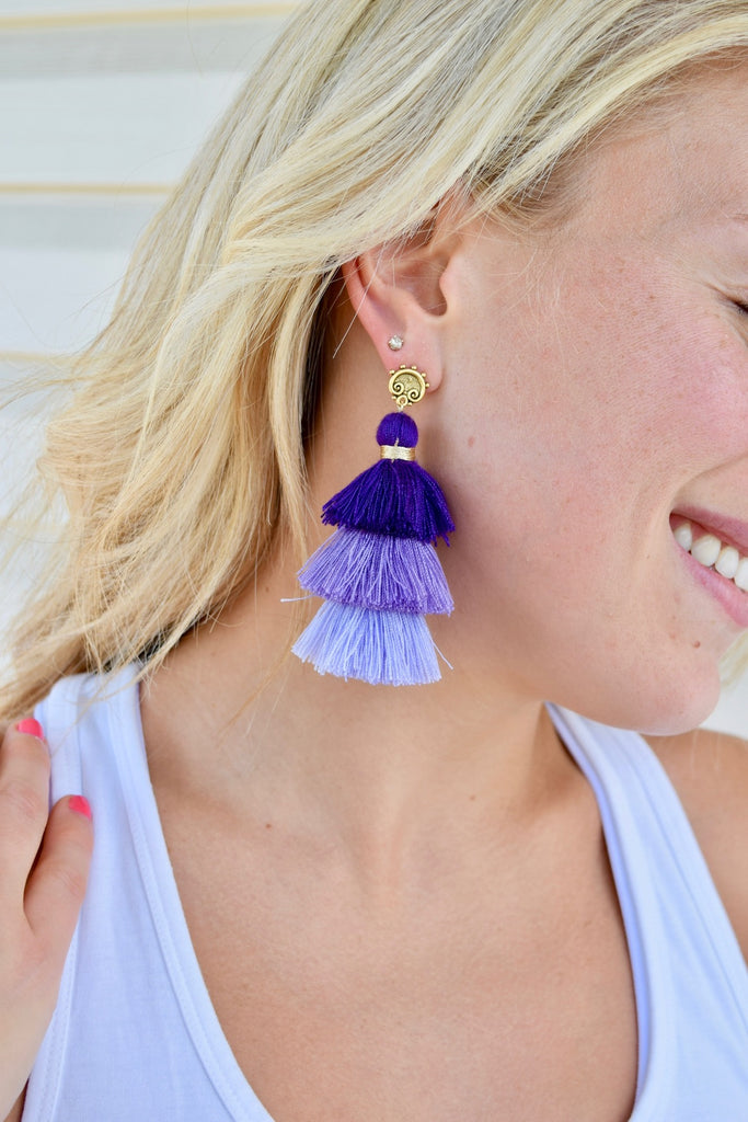 Jasmine Purple Ombre Tassel Earrings