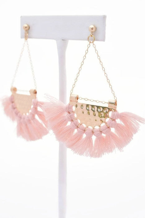 Kendra Blush Fringe Earrings