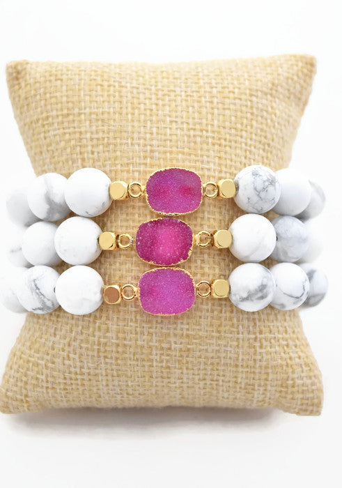 Marble and Pink Druzy Stacking Bracelet