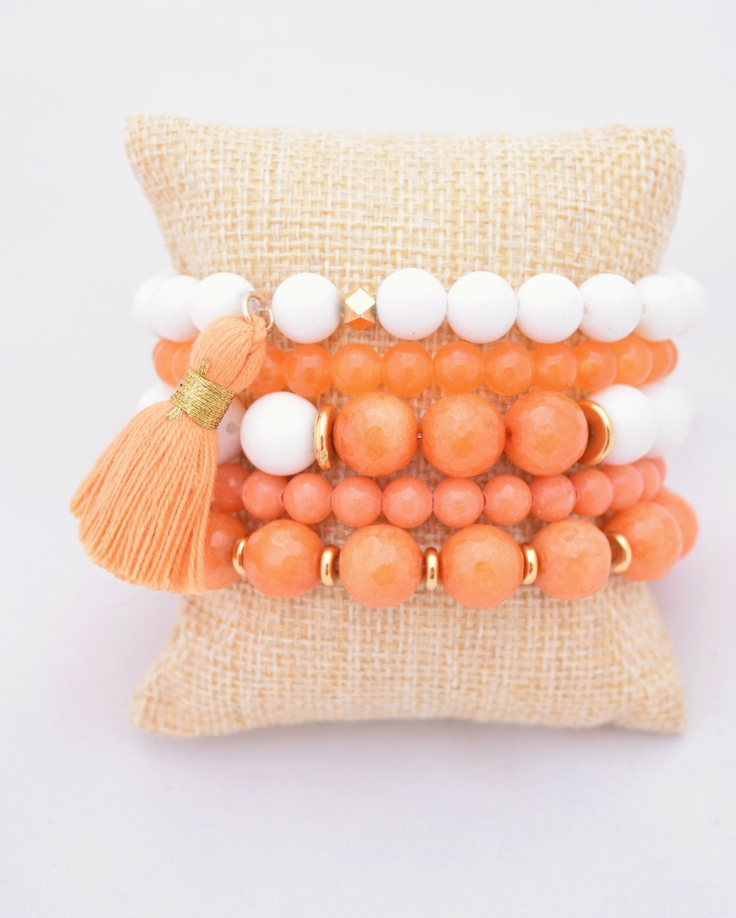 Orange and White Bracelet Stack