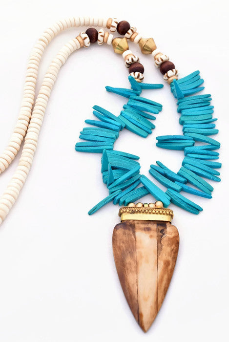 Turquoise and Brown Boho Spike Necklace