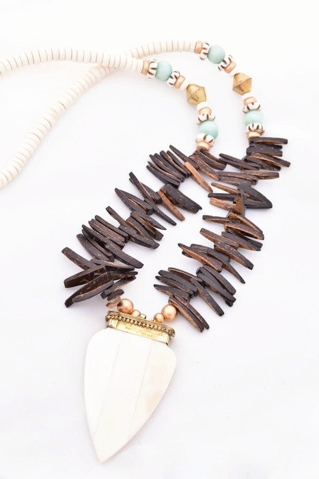 Brown and Mint Boho Spike Necklace