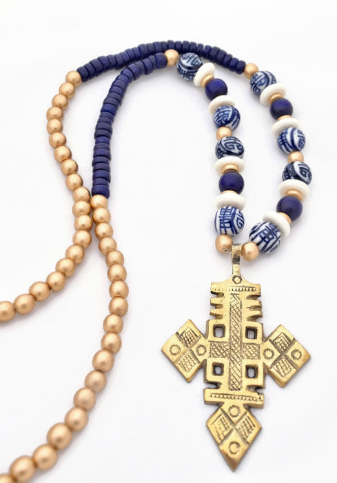 Blue White Gold Cross Statement Necklace