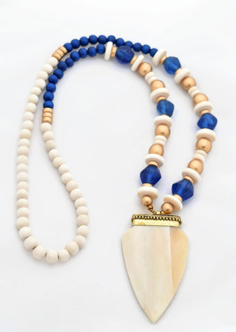 Royal Blue Beaded Pendant Necklace