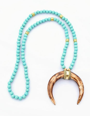 Turquoise and Brown Beaded Necklace with Crescent Horn