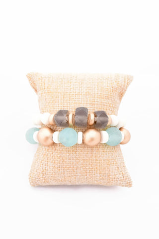 Blue and Gray Glass Bracelet Stack