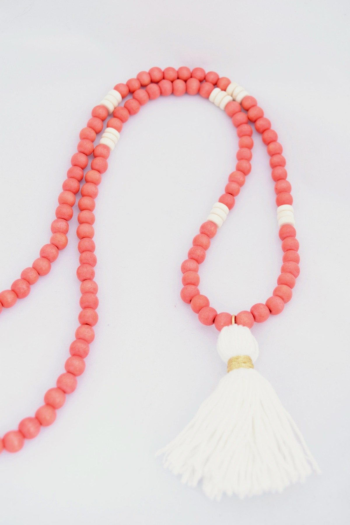 Charlie Orange and White Beaded Tassel Necklace