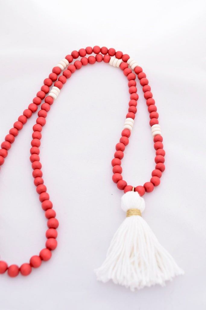 Charlie Red and White Beaded Tassel Necklace