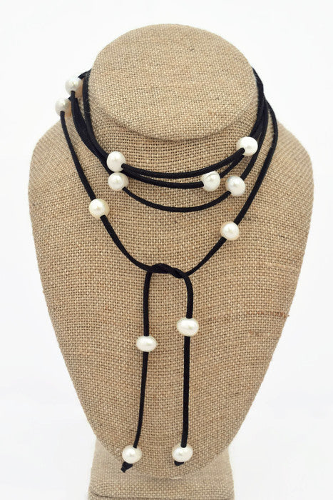 Cindy Black Faux Suede Choker with Freshwater Pearls