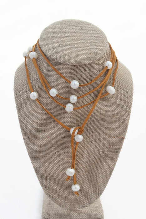 Cindy Camel Faux Suede Choker with Freshwater Pearls