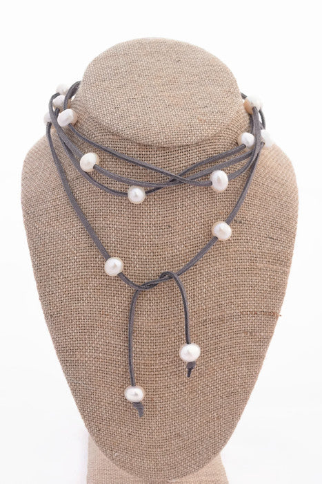 Cindy Dark Gray Faux Suede Choker with Freshwater Pearls