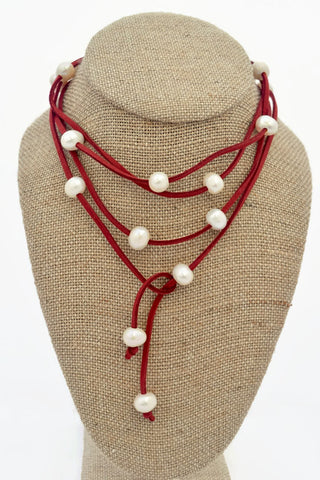 Cindy Maroon Faux Suede Choker with Freshwater Pearls