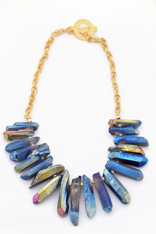 Claire Blue Quartz Bib Necklace