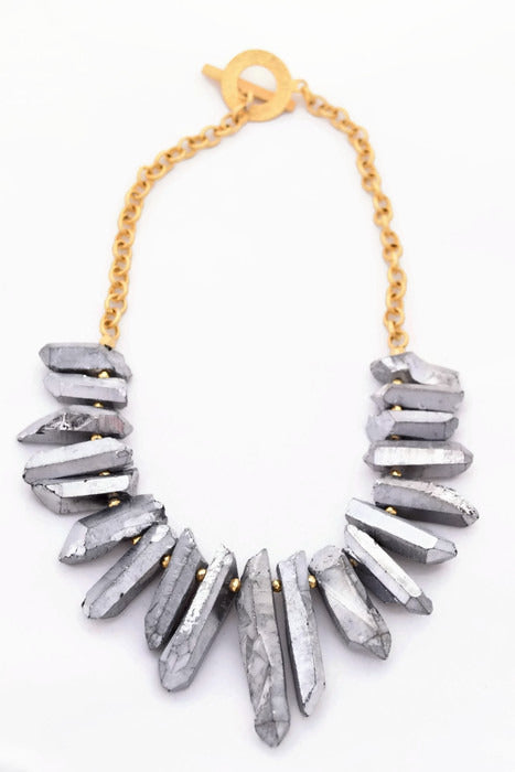 Claire Silver Quartz Bib Necklace