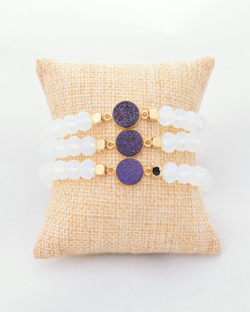 Crystal and Purple Druzy Stacking Bracelet