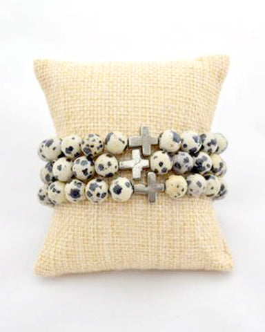 Dalmatian Cross Stacking Bracelet
