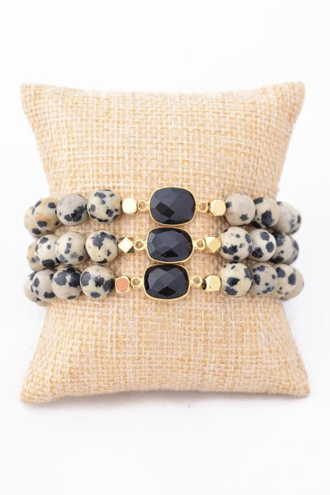 Dalmatian Gemstone Beaded Bracelet