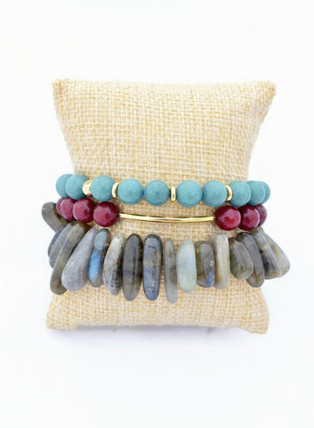 Gray Maroon and Turquoise Bracelet Stack