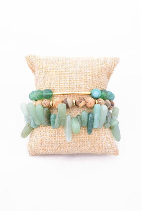Green and Brown Bracelet Stack