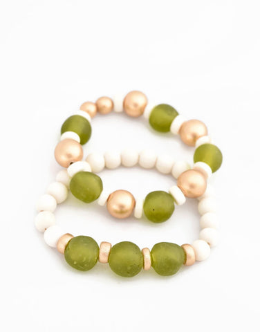 green ivory glass bracelet stack
