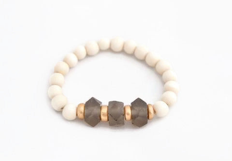 Gray Glass Stacking Bracelet