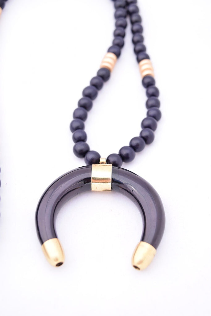 Stacy Black and Gold Statement Necklace