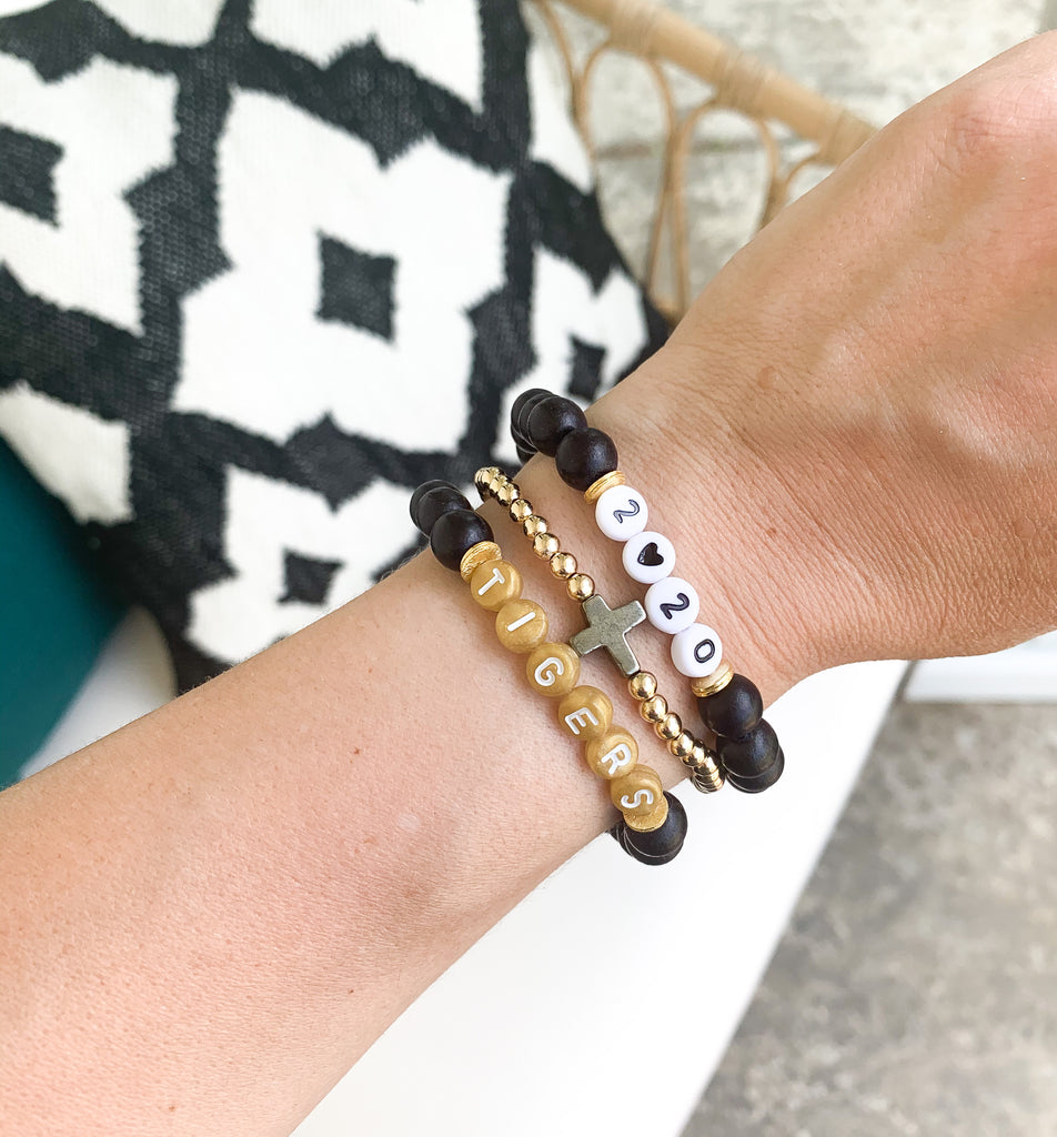 Customizable Black and Gold Wood Letter Bracelet