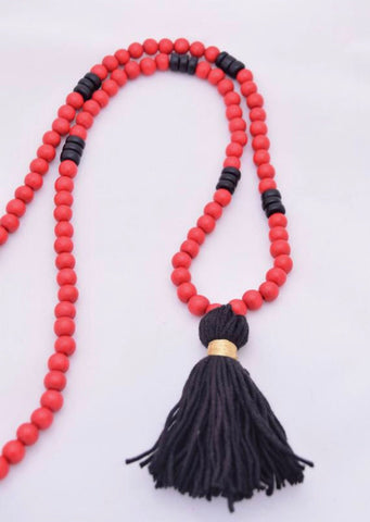 Red and Black Beaded Tassel Necklace
