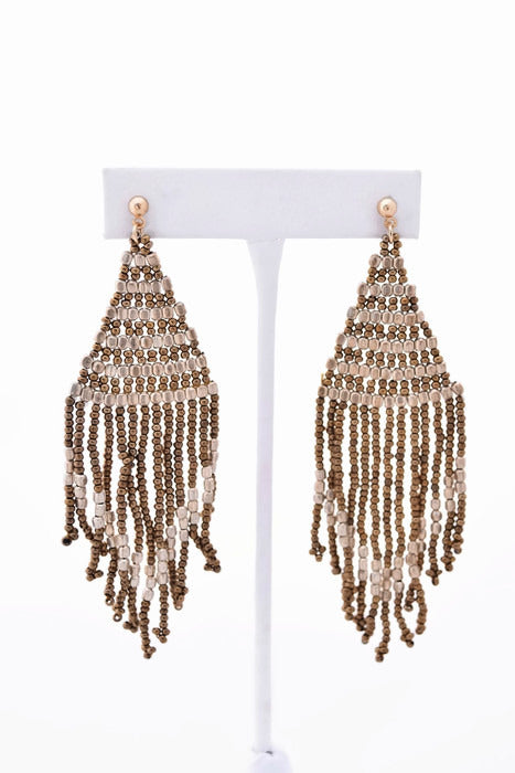 Jade Silver and Gold Beaded Tassel Earring