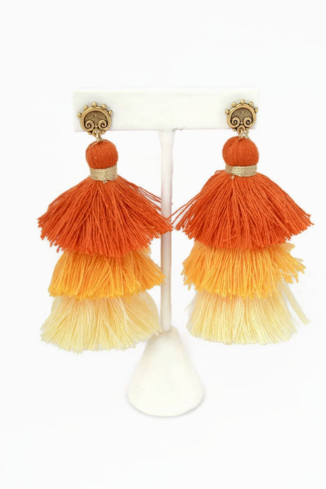 Jasmine Orange Ombre Tassel Earrings