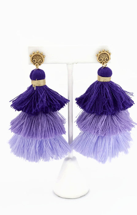 Purple Ombre Tassel Earrings