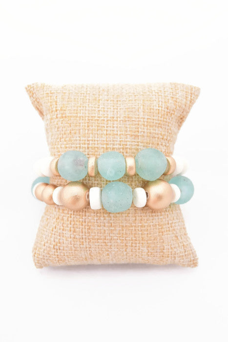 Light Blue Glass Bracelet Stack