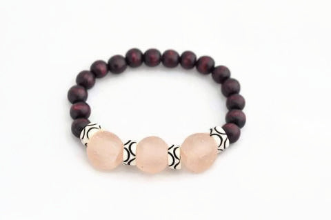 Light Pink and Brown Glass Stacking Bracelet