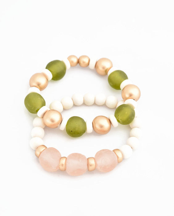 Light Pink and Green Glass Bracelet Stack