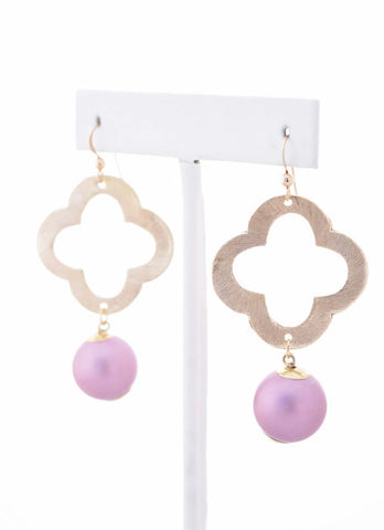 Light Purple Pearl Quatrefoil Earrings