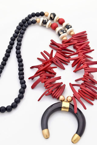 Red Black Boho Statement Necklace