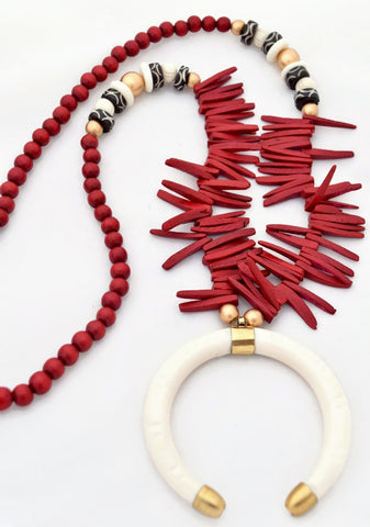 Red Ivory Boho Statement Necklace