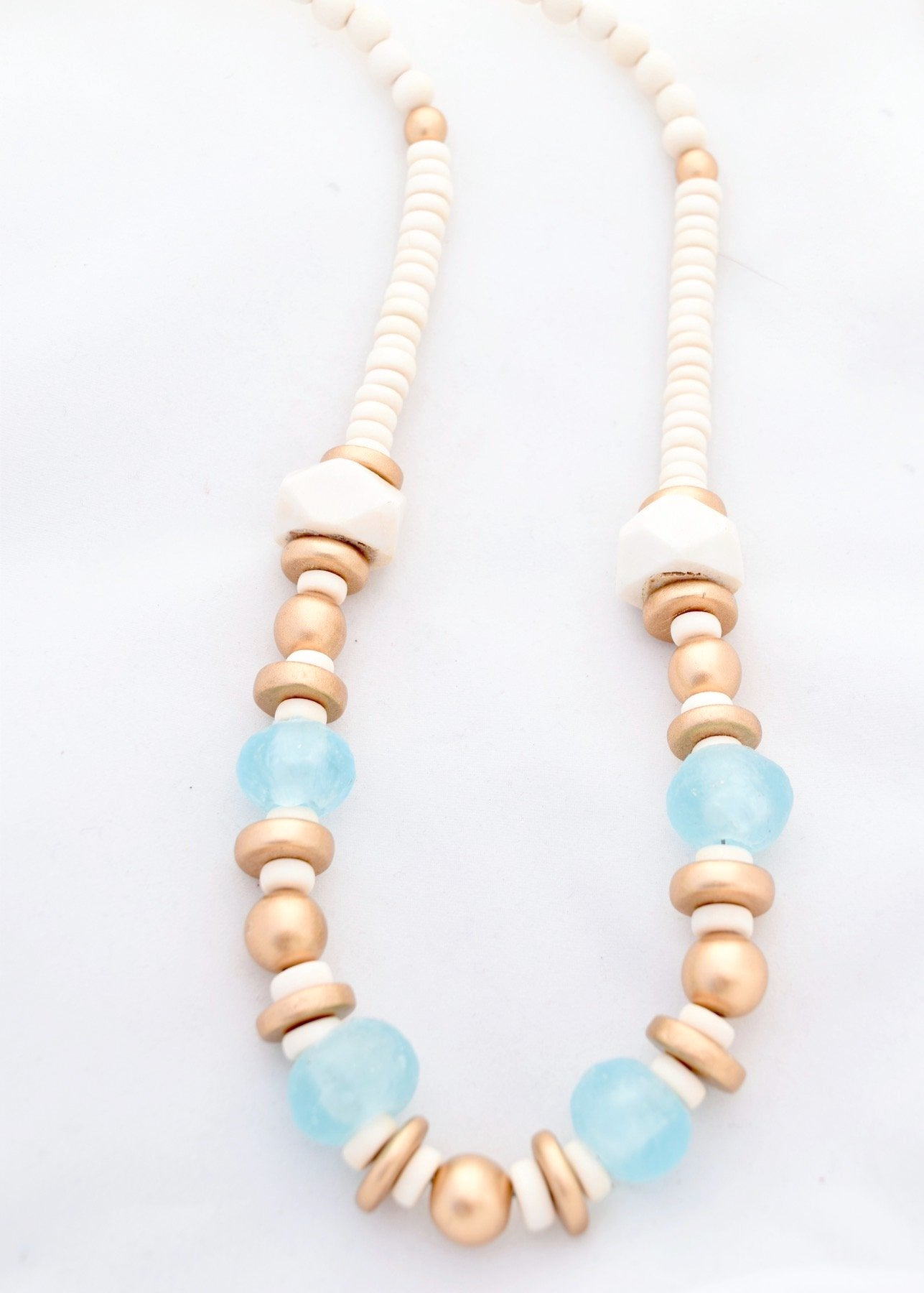Blue Ivory Beaded Necklace