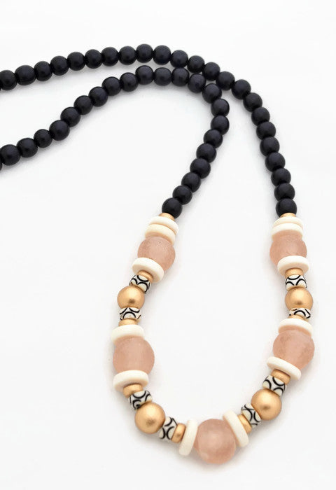 Black Pink Beaded Necklace