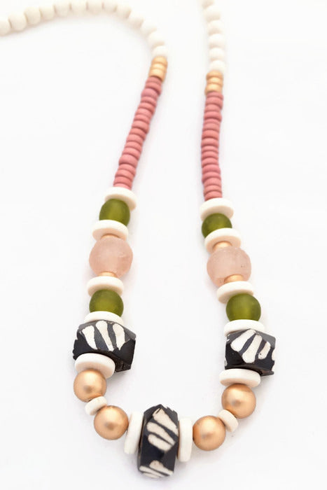 Pink Olive Beaded Necklace