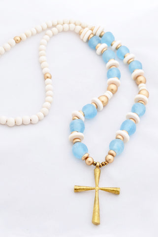 Light Blue Beaded Cross Necklace
