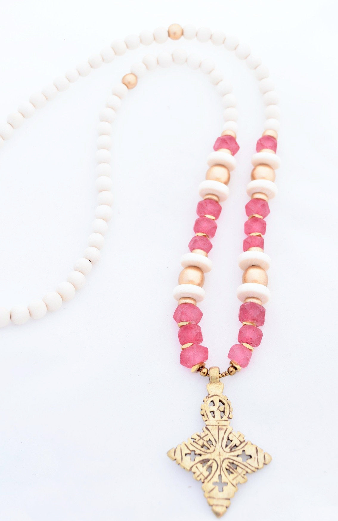 Pink Beaded Cross Necklace