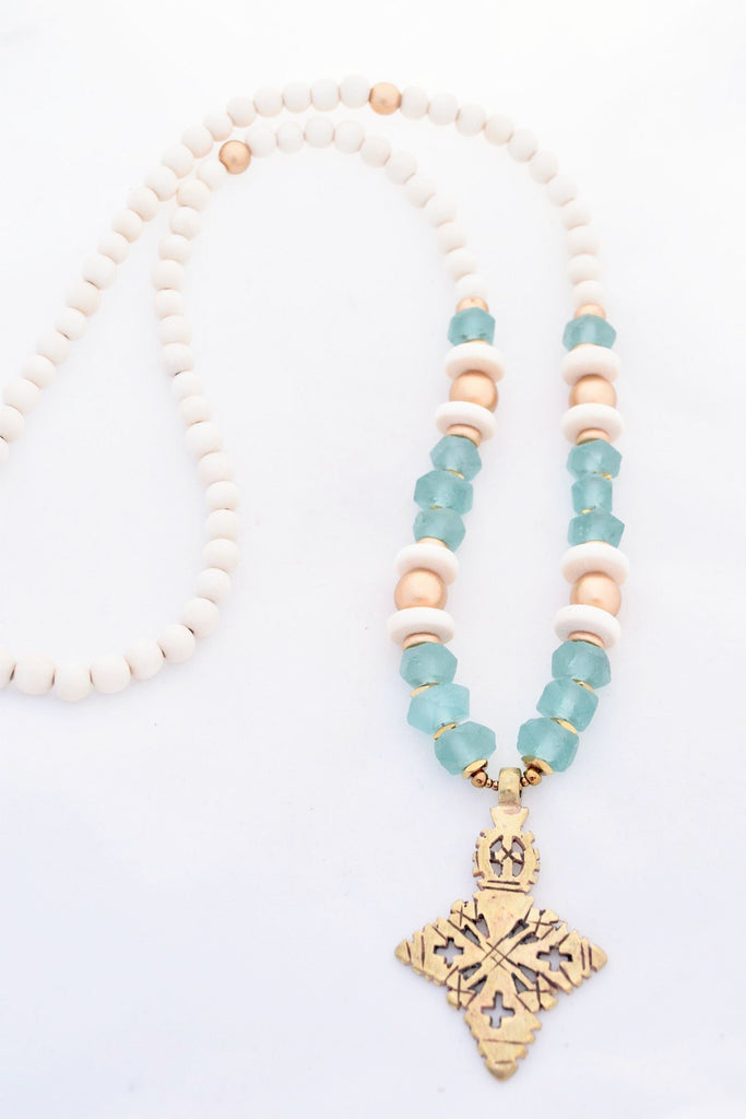 Seafoam Beaded Cross Necklace