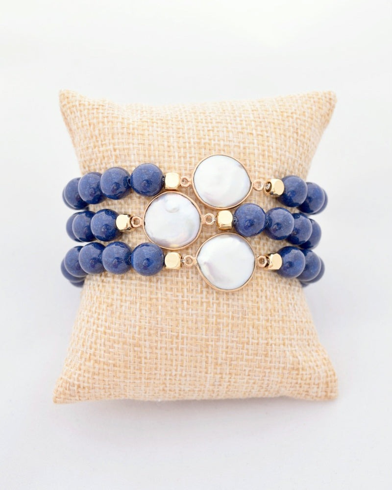 Navy and Pearl Stacking Bracelet